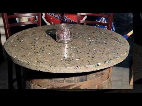The Polished Concrete Wine Barrel Table