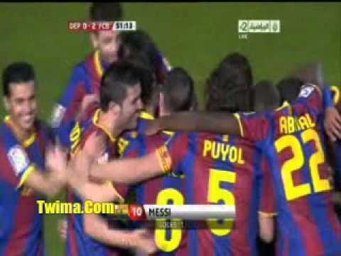 Deportivo Vs FC Barcelone Increíble Goal Messi 08.01.2011