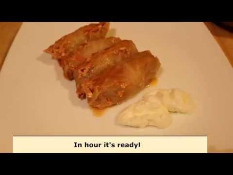 Cook Ukrainian golubtsi (cabbage rolls): video rec