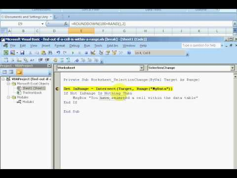 ExcelExperts.com - VBA Tutorial - Find Out If A Cell Is Within A Range