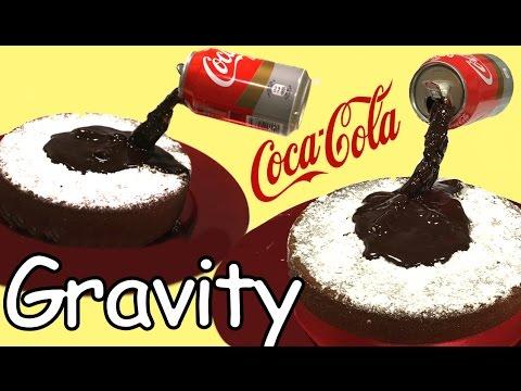 Coke and chocolate gravity cake. Coca-Cola sponge cake