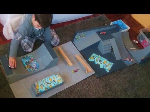 SKATE PARK casero para TECH DECK o Fingerboards hecho con cartón. Vídeo para niños