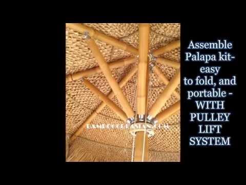 Palapa kit&bamboo umbrellas-Folding thatched palapas bamboo umbrellas-bamboo collapsible frame