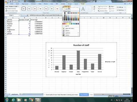 IGCSE ICT (0417) Formatting a Column (vertical bar) chart in Excel (2007)