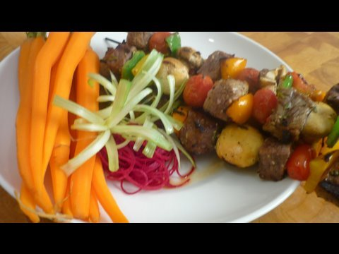 Grilled Beef Kebobs with Steamed Baby Carrots
