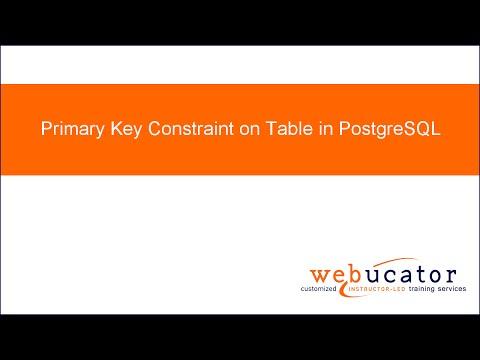 Primary Key Constraint on Table in PostgreSQL