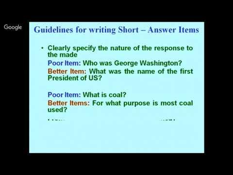 Writing Test Items By Dr Sunil Dutt