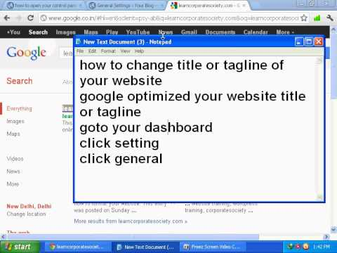 corporatesociety.org , how to change website title or tagline , websitelatest.com