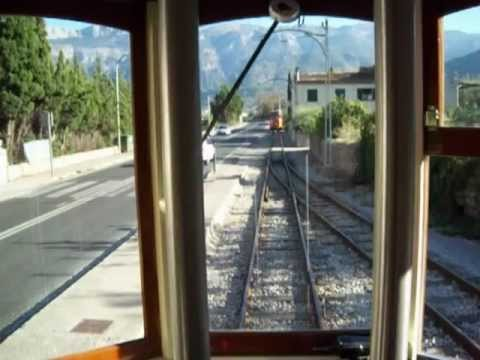Soller to Port Soller Train Tram passing loop two Mallorca Majorca Spain