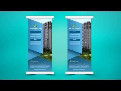 Modern Business Roll Up Banner Design - Photoshop Tutorial