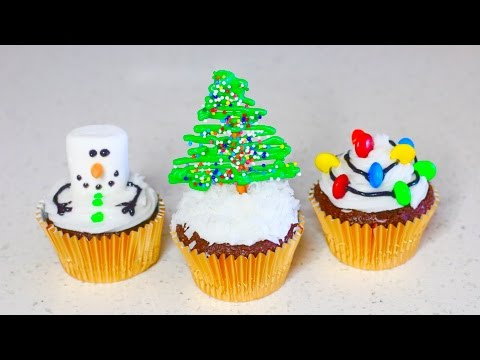 3 QUICK & EASY WAYS TO DECORATE CUPCAKES (CHRISTMAS)