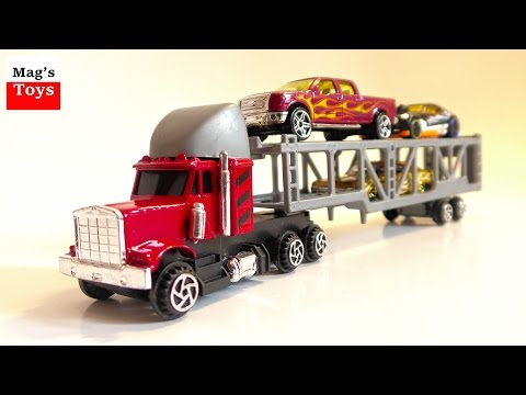Cars Transporter Moving Tiny Toy Cars Hot Wheels  + more \ Video for children