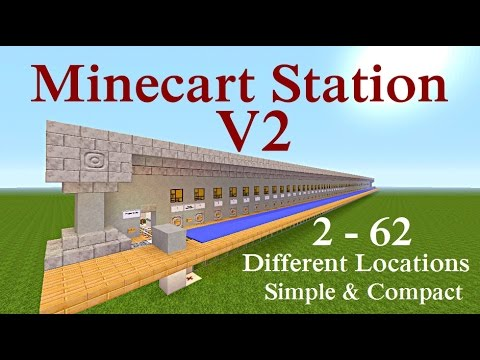 Minecraft Tutorial : V2 Minecart Station 2-62 Tracks