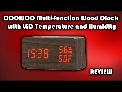 CooWoo LED Wood Clock with Temperature and Humidity Display Review