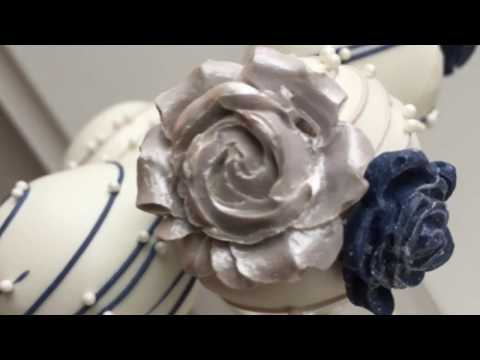 Blue and Gray Rose Cake Pops