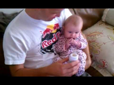 Baby drinks prune juice for the first time!