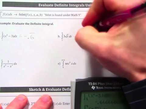 Calc Lecture 6 0 Evaluating Definite Integrals using TI 84