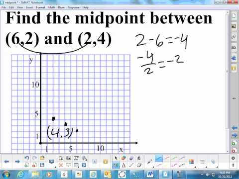 Find the midpoint between two points video