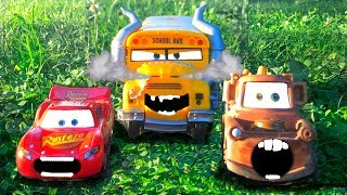 Disney Pixar Cars 3 Lightning McQueen, Tow Mater Scared Chased Attacked Miss Fritter Kids Toys Movie