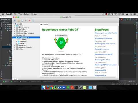 MongoDB and Python Quickstart (8/21): Demo: Robo 3T for viewing and managing data