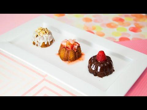 MINI BUNDT CAKES (Banana Nut Rum, Strawberry Lemonade, & Chocolate Ganache)