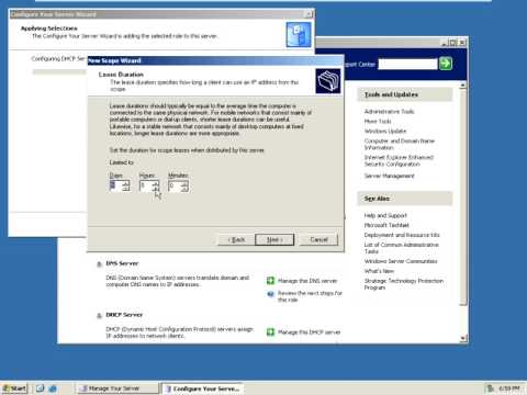 How to configure DHCP in Window Server 2003