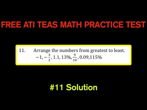 ATI TEAS MATH Number 11 Solution - FREE Math Practice Test - Putting Numbers In Order