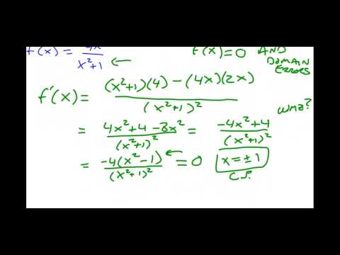 Calculus - Critical Points and Derivatives using Quotient Rule