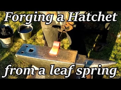 Blacksmithing - Forging a Hatchet from a Leaf Spring | Iron Wolf Industrial