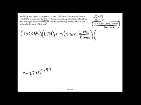 Empirical/Molecular formula with the Ideal Gas Law: Chemistry Sample Problem