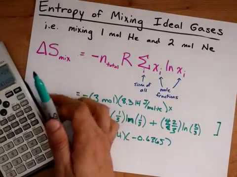 Calculate Entropy of Mixing for Ideal Gases (delta S_mix)
