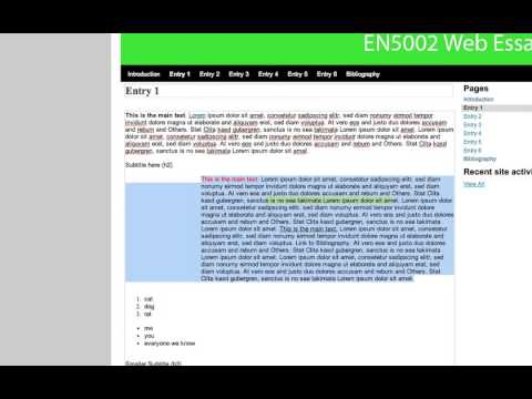 Adding & editing text content for your Web-based Essay in Google Sites