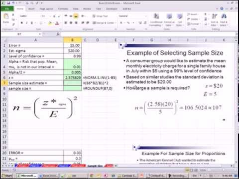 Excel 2013 Statistical Analysis #52: Determine Sample Size for Sample Mean & Sample Proportion