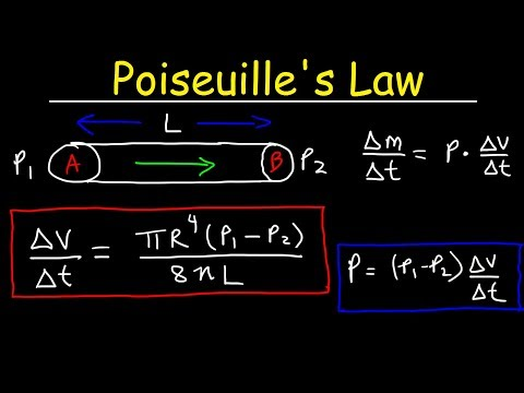 Poiseuille's Law - Pressure Difference, Volume Flow Rate, Fluid Power Physics Problems