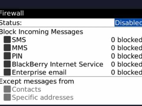 How to setup the firewall on your BlackBerry