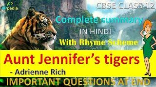 Aunt Jennifer's Tigers 🐅| Poem - 6 | Flamingo | Adrienne Rich | Class 12th | In Hindi