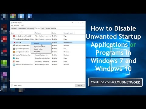 How to Disable Unwanted Startup Applications or Programs In Windows 7 and Windows 10