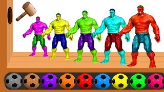 Learn Colors with Hulk & Marvel Avengers Soccer Balls Wooden Hammer Xylophone for Children Toddlers