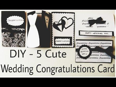 DIY - 5 Cute Wedding Congratulation Cards   Handmade Cards   Easy Craft idea