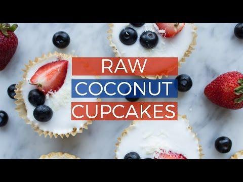Raw Coconut Cupcakes | NO-BAKE HEALTHY VEGAN 4TH OF JULY RECIPE