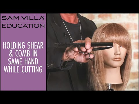 How To Hold Your Shear & Comb In The Same Hand While Cutting Hair