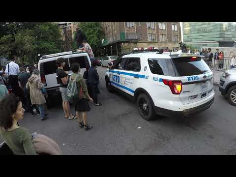 NYPD Vehicle blocked by Hummer during