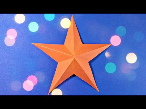 3d origami christmas star paper easy tutorial for kids, for beginners, for christmas tree