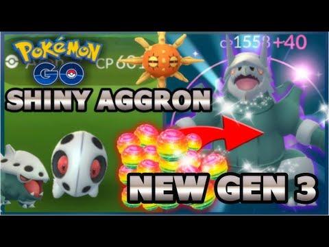 SHINY ARON & EVOLVED TO SHINY AGGRON IN POKEMON GO | NEW GEN 3 POKEMON WORLD'S FIRST SHINY AGGRON