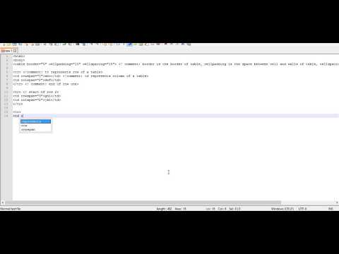 How to create a Table in HTML in Notepad++