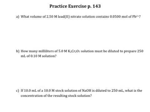 Practice Exercise p 143 Molarity of Ions and Dilutions