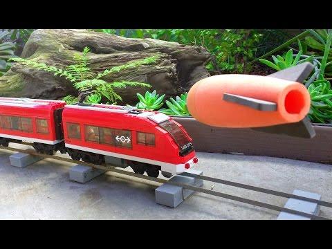 Can Mega Nerf darts derail a Lego train?