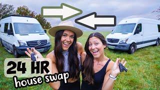 24 Hour Tiny House Swap with Kara & Nate (van life comparison)