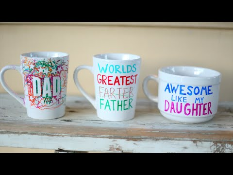 DIY Custom Personalized Mugs! With Sharpies! Fathers Day Gift Idea!
