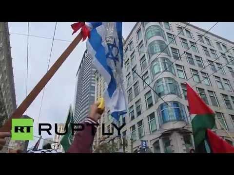 USA: Israeli flag burns at Gaza solidarity demo in San Francisco